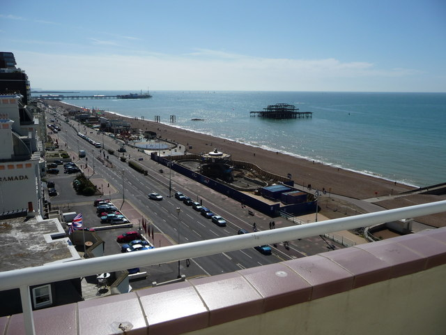 View of Brighton Sea front from top of building