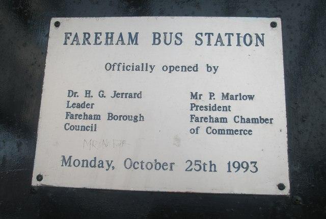 Commemorative plaque in Fareham Bus Station
