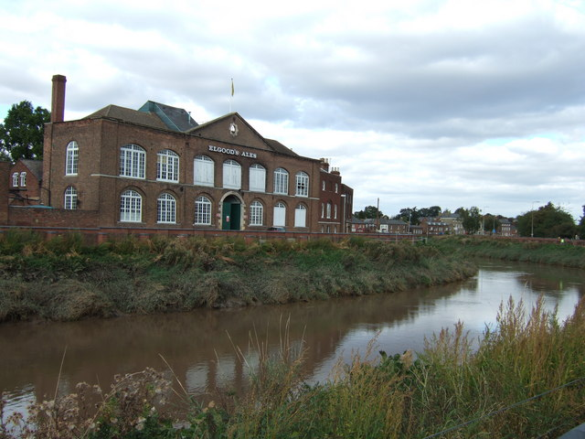 Elgood's brewery and River Nene, Wisbech