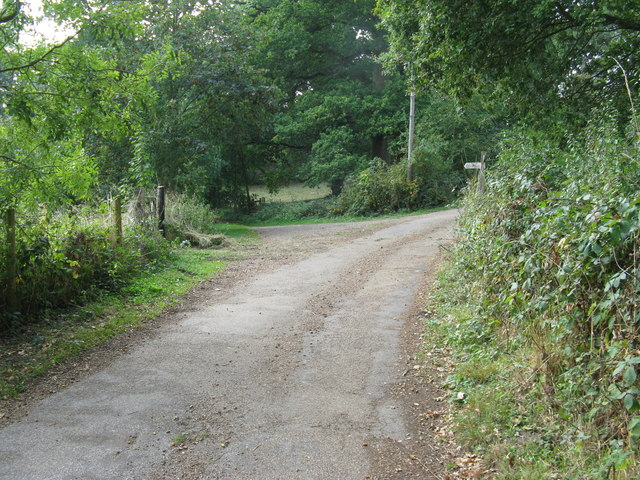 The bridleway continues on the left fork , while the right hand fork is a private road to Furzefield House