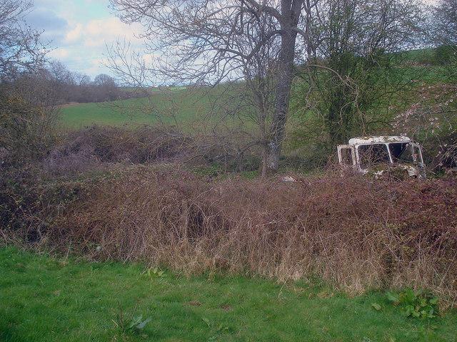 Lurking lorry at Uphampton Farm