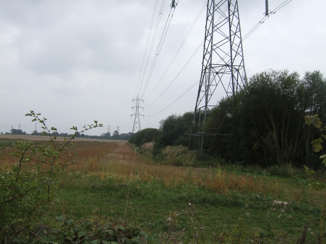 Pylons on the course of the Shrewsbury Canal