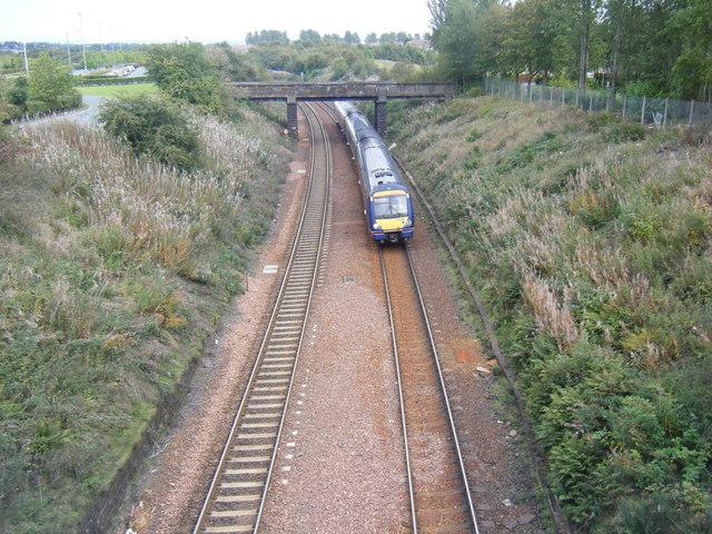 Railway line west of Falkirk.
