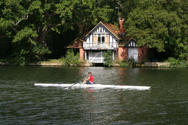 Single scull on the river