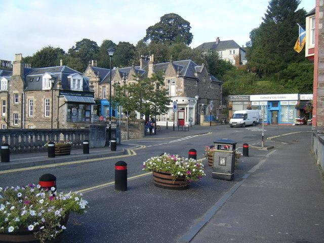 Road junction from bridge, Dunblane.
