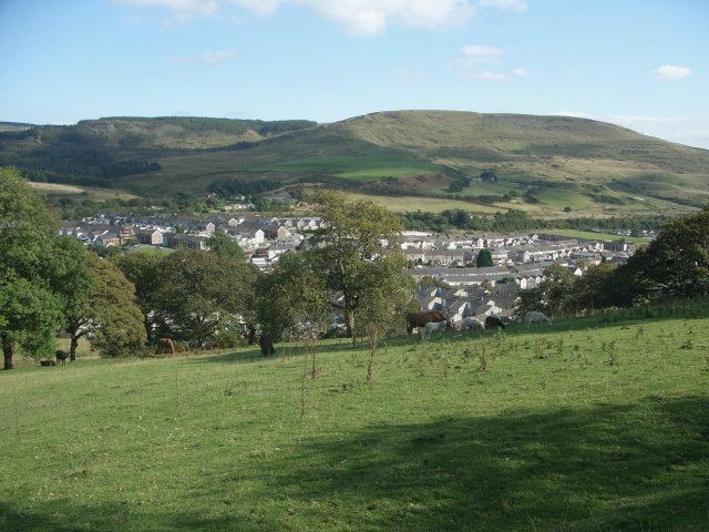 Grazing land above Caerau with a view towards Mynydd Bach
