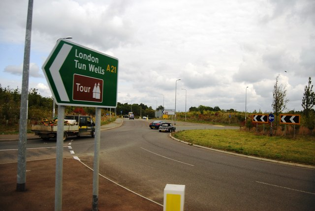 The roundabout at the northern end of the Lamberhurst bypass
