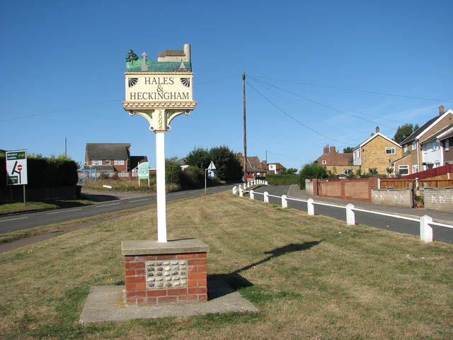 The Hales and Heckingham village sign