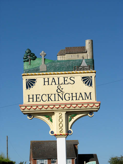 The Hales and Heckingham village sign (close-up)