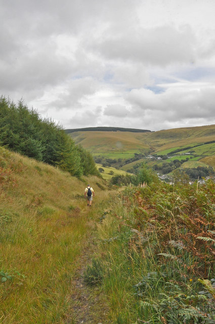 Mountain bridleway with walker - Glyncorrwg