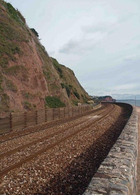 The main railway line alongside the coast at Teignmouth