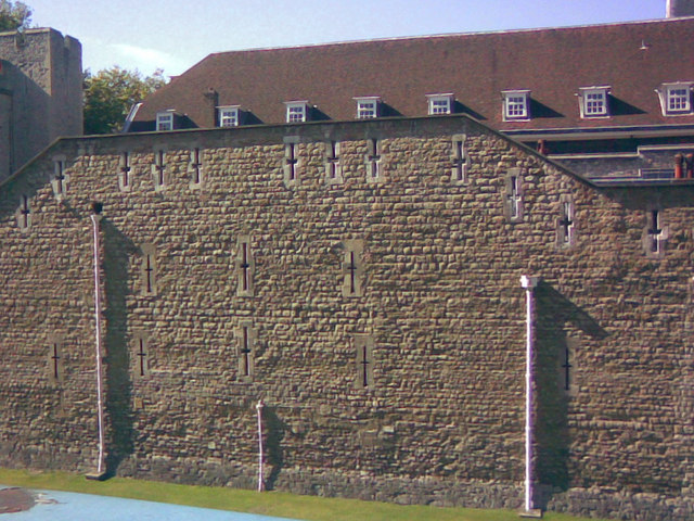 Close up of the wall detail on the Tower of London