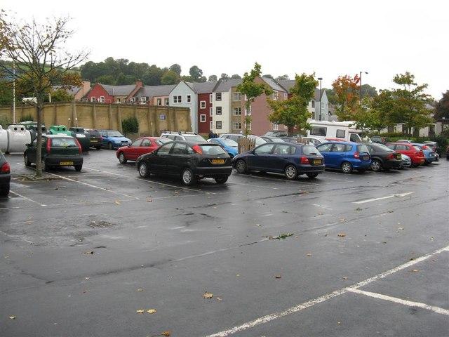 Wet car park at Jedburgh