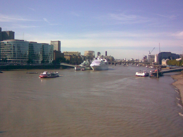 River scene from Tower Bridge, looking west-northwest
