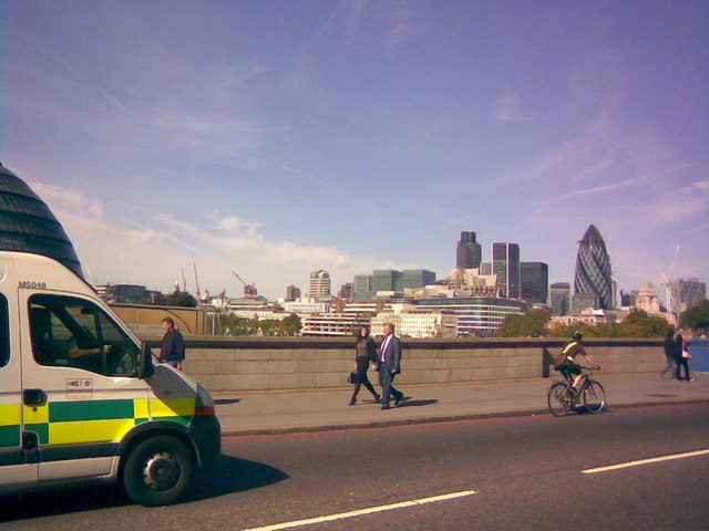 View of the Gherkin from Tower Bridge