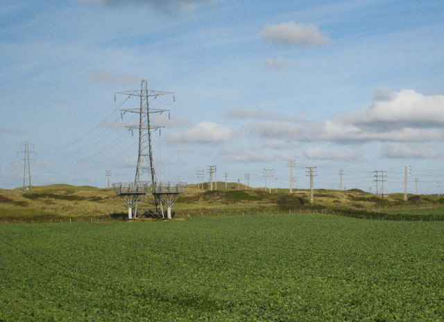 Cabbage field and pylons at Riviere Towans