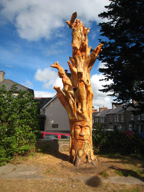 Tree sculpture in St Clare Street Penzance