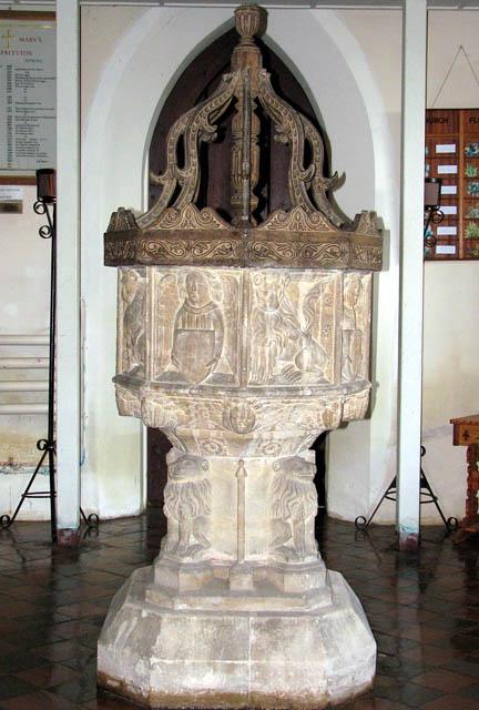 St Mary's church - C15 baptismal font
