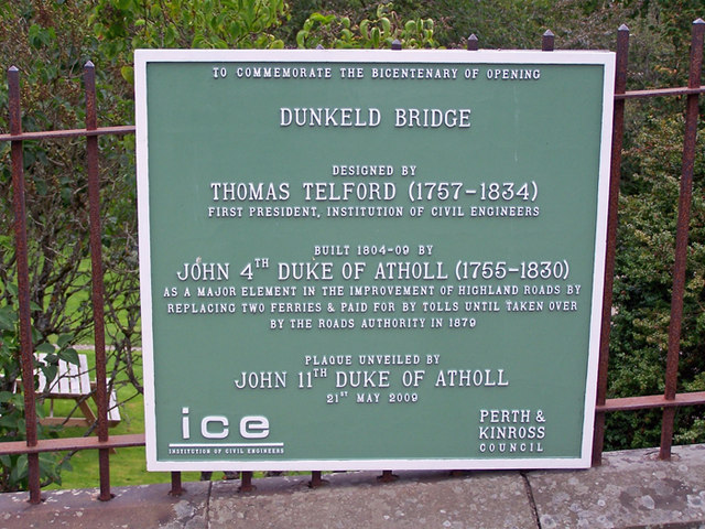 Commemorative plaque, Dunkeld bridge