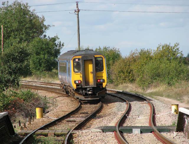 Unit 156422 approaching Somerleyton swing bridge