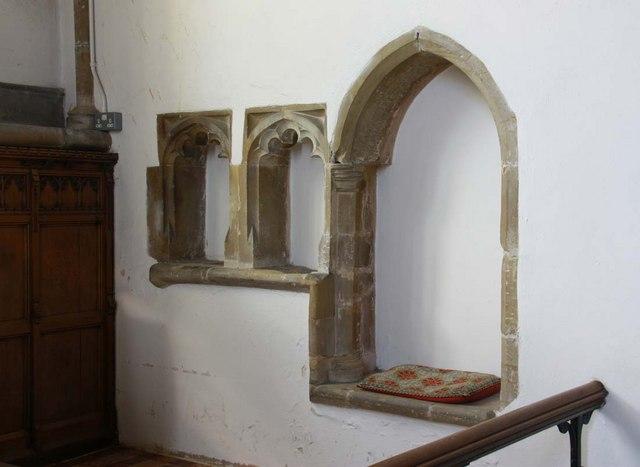 St Margaret, Ditchling, Sussex - Piscina & sedilia