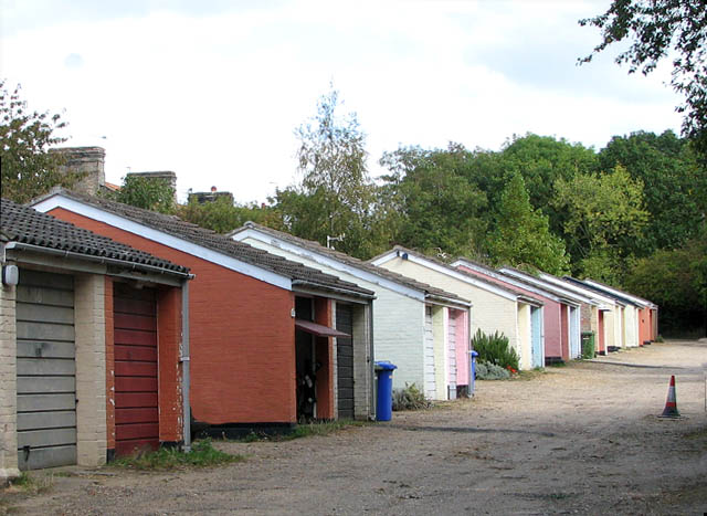 Garages in pastel colours