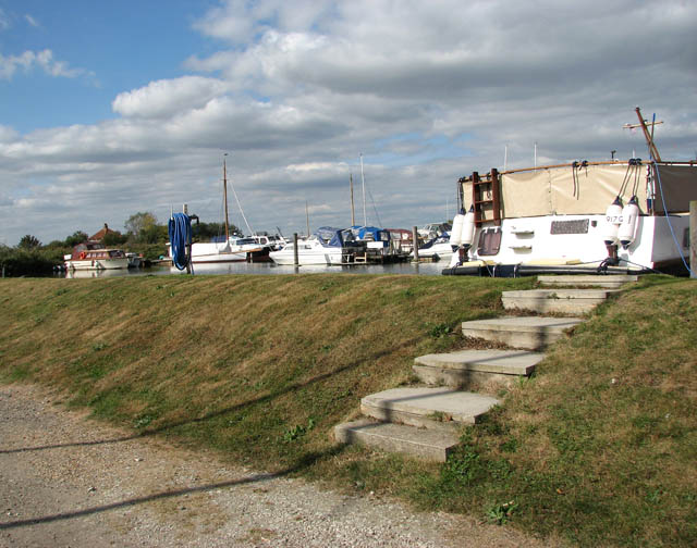 Somerleyton Marina - steps up the boat dike