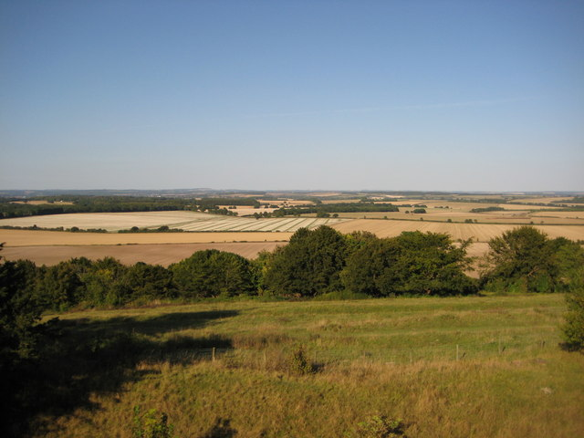 View north from the ramparts of Danebury fort