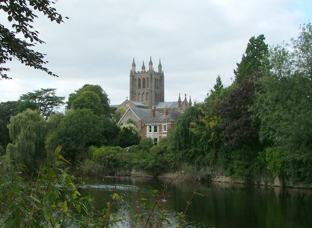 Hereford Cathedral looking North West from the Riverside