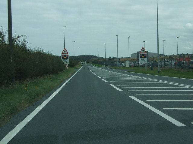 A18 road approach at Humberside Airport
