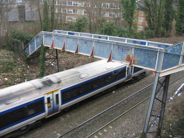 Footbridge & passing train