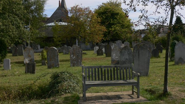 Seat in churchyard at North Hayling