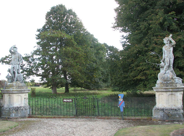 Somerleyton Hall - gate flanked by two sculptures