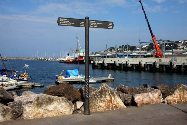 Signpost on the seafront at Brixham