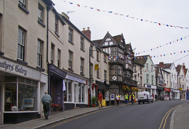 Commercial street scene with the Feathers Hotel
