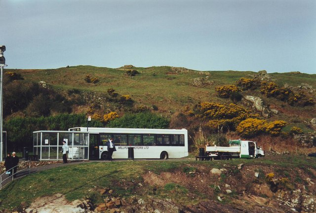 Bus stop at Portrye for ferry to Largs.