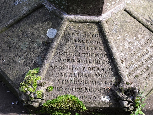 Detail of inscription on the grave of Dean Tait's daughters