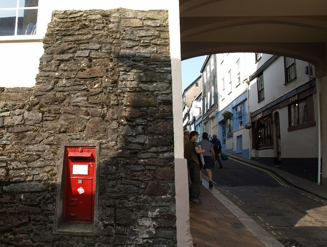 Postbox and busker, Totnes