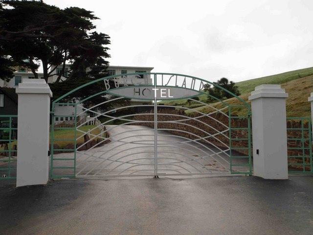 The gates to Burgh Island hotel