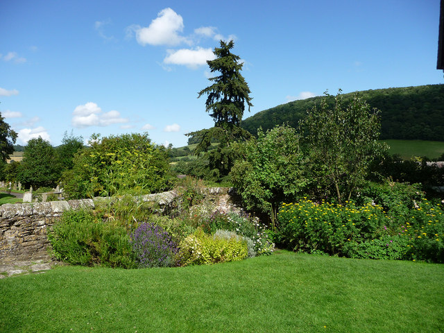 Stokesay Castle, garden and view beyond