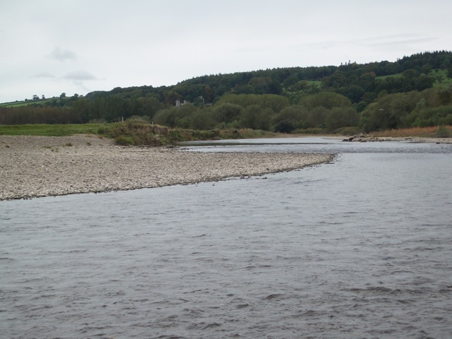 River Wye: the new course near Glasbury, looking upstream