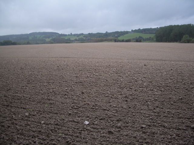 Near Glasbury: a large recently ploughed field