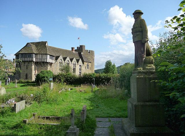 Stokesay Castle and war memorial