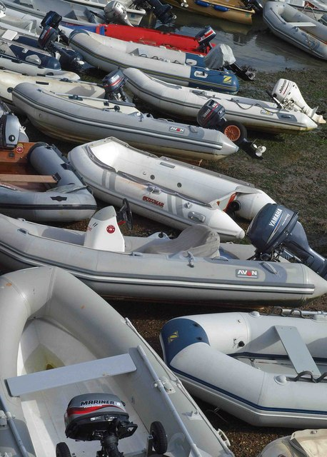 A cluster of yacht tenders at Salcombe