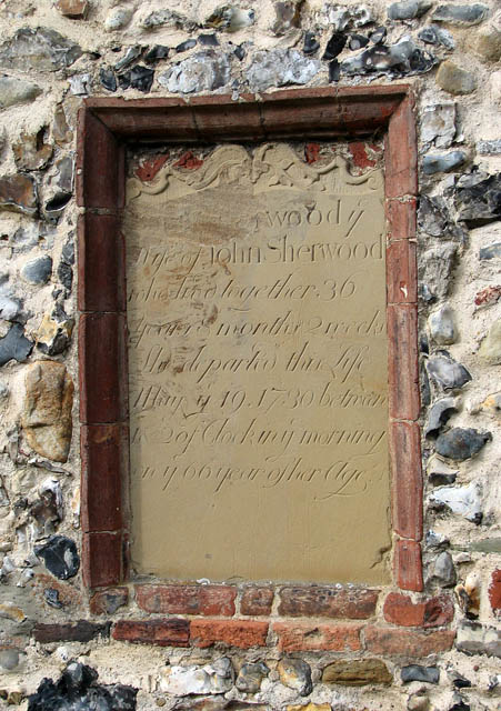 St Mary's church - C18 monument on exterior wall