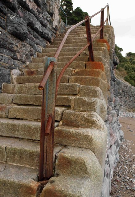 The steps from Meadfoot beach