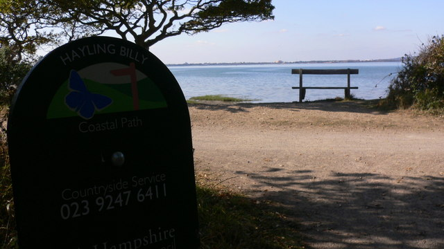 Seat by the Hayling Billy Coastal Path