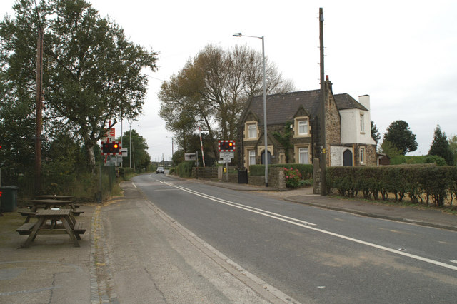 Station House and the level crossing at Hoscar