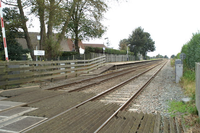 The platform for Southport-bound trains at Hoscar