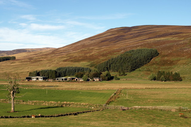 Whitehillocks Farm, Glen Clova and surrounding terrain